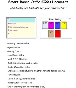 Smart Board Daily Slides document: includes All-day & Everyday Slides!