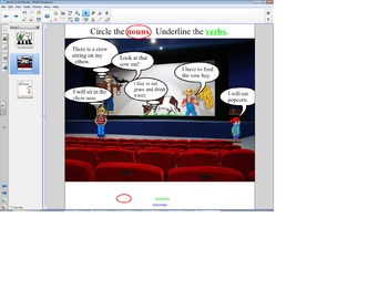 """Smart Board Grammar: Verbs and Nouns """"Let's go to the Movies"""""""