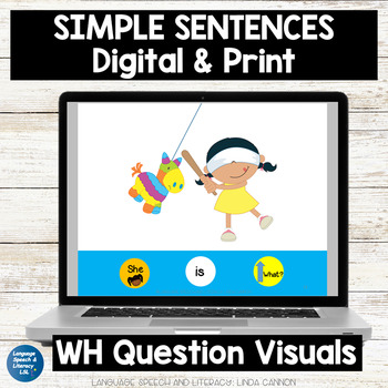 Activity for Pronouns, Verbs and Simple Sentences,  No Print - Teletherapy