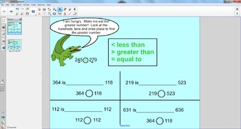 Smart Board Math: Comparing Three Digit Numbers Using , and =