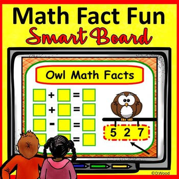 Smart Board Math Fact Fall Owl Families:  Kinder and First