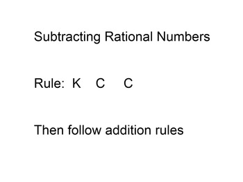 Smart Board Mini Lesson Subtraction of Rational Numbers