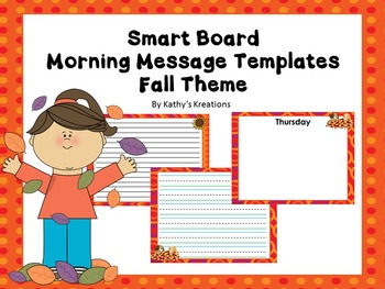 Smart Board Morning Message Templates (Fall Theme)