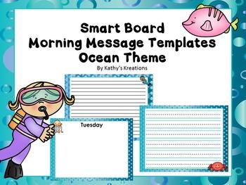 Smart Board Morning Message Templates (Ocean Theme)