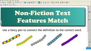 Smart Board NonFiction Text Features Match -  Warm-Up or Review
