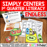 Kindergarten Centers - First Quarter Simply Centers Bundle - Literacy Centers