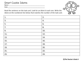 Smart Cookie Idiom Google Drive Digital and Hard Copy Task Cards
