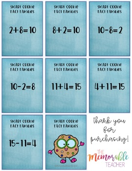 Smart Cookie Math Card Game: Addition and Subtraction Fact Families