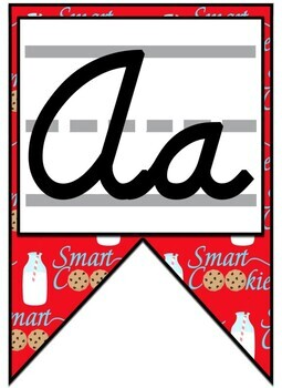 Smart Cookie Themed Alphabet Banner with D'Nealian Cursive