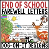 End of Year Letter from Teacher to Students and Parents Woodland Animals