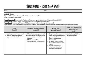 Smart Goals Worksheet by Organization Made Simple | TpT