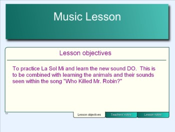 """Smart Notebook 14 page Sol La Mi Do Lesson using """"Who killed Mr. Robin"""" Song"""