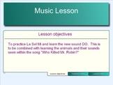 """Smart Notebook 14 page Sol La Mi Do Lesson using """"Who kill"""