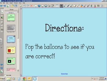 Smart Notebook Vocabulary Lesson for Dear Mr. Henshaw