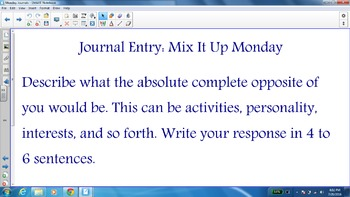 Smart Notebook Weekly Journal Entries: Monday Journals