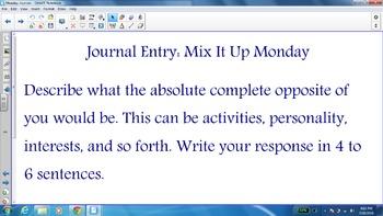 Smart Notebook Weekly Journal Entries: Monday Journals