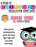 Editable Newsletter Templates (12 included): Smart Owl Themed