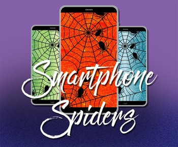 Smart Phone Spooky  Spider Wallpaper Screen Background iPod and Android 4 Colors