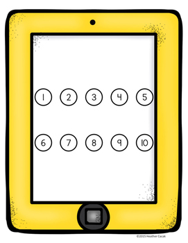 Smart Phone Tablet Counting Hands-On Math Mats 1-25 Low Prep (Pre-K to K)