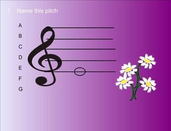 Smart Response Quiz Music Pitch Reading, Treble Clef Line Notes