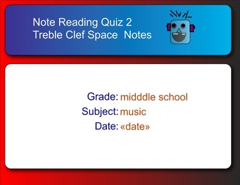Smart Response Quiz for Treble Clef Space Notes and Pitch