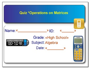 Smart Response - Quiz on Operations on Matrices