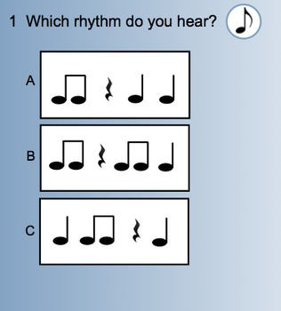 Smart Response Rhythm Quiz (Quarter note/Eighth notes/Quarter rest)