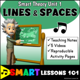 Staff LINES and SPACES Music Theory Unit 1 with Videos and Worksheets