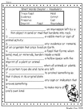 Smart Words Fossils Comprehension Activities
