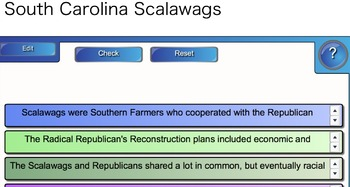 Smart board Exercises - South Carolina - 8-5.2 - Reconstruction