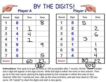 Whole Number Place Value, Estimation, Addition Game: Smartboard!