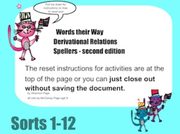 SmartBoard Activity Words Their Way Derivational Spellers Sorts 1-12