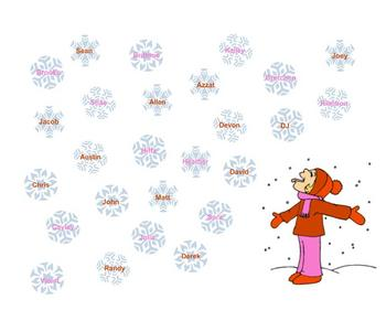 SmartBoard Attendance- Catching Snowflakes
