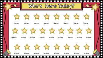 SmartBoard Attendance/Student Check-In Hollywood Movie Theme