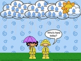 SmartBoard Attendance/Student Check-In Rainy Weather Theme