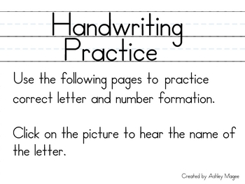 SmartBoard Handwriting Practice (Letters and Numbers 1-9)