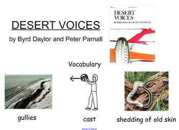 """SmartBoard Lesson for """"Dessert Voices"""" by B. Baylor and P. Parnell"""