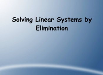 SmartBoard Lesson on Solving a System of Equations by Elimination