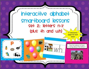 15 SmartBoard Lessons for Alphabet Letters N-Z (& th/wh) -