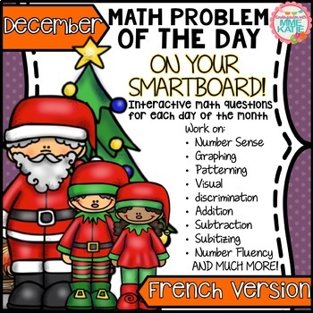SmartBoard Math Problem of the Day: December Christmas Winter French