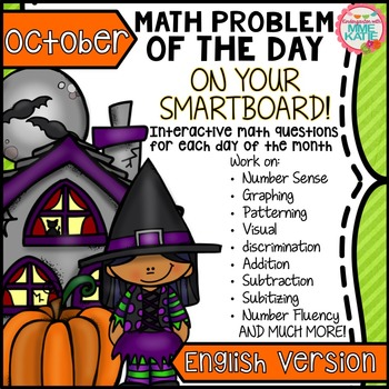 SmartBoard Math Problem of the Day: Fall Halloween Thanksgiving October English