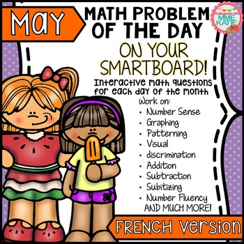 SmartBoard Math Problem of the Day: Spring, Summer, Mother's Day -  May French