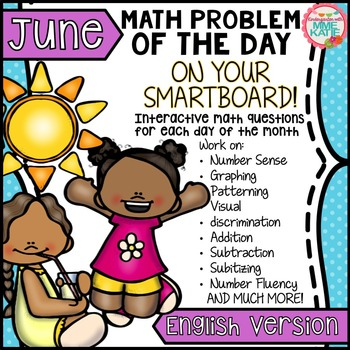 SmartBoard Math Problem of the Day: Summer End of Year Father's Day June English
