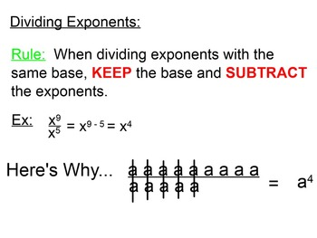 SmartBoard Mini Lesson on Rules For Division of Exponents & Scientific Notation