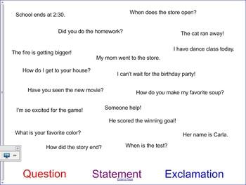 SmartBoard Sort for Different Types of Sentences