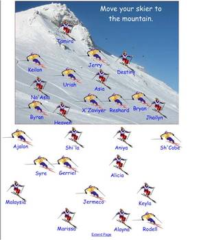 SmartBoard attendance file Skiing themed