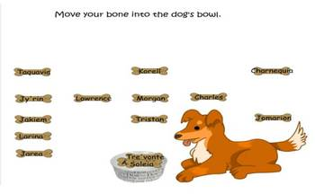 SmartBoard attendance file dog theme, dog with bones