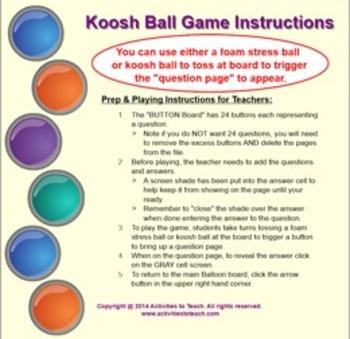 SmartNotebook Kooshball Game Template w/ How to Create Instructions