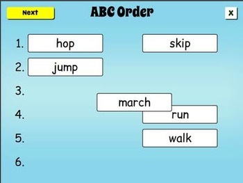 Smartboard Alphabetical Order Game