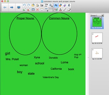 Smartboard Activity for Sorting Common and Proper Nouns